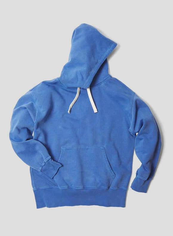 Nigel Cabourn THE ARMY GYM - EMBROIDED ARROW HOODIE - IN WASHED BLUE