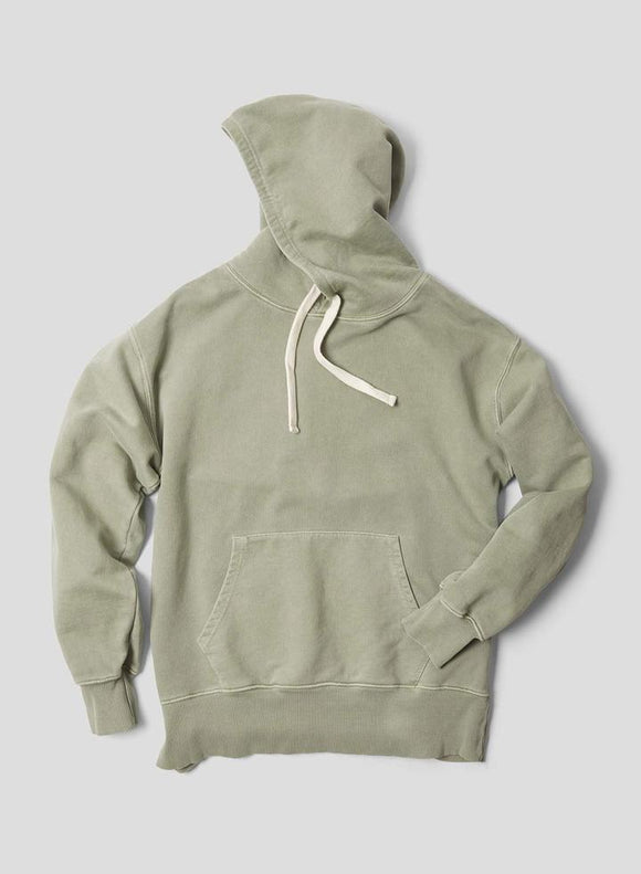 Nigel Cabourn THE ARMY GYM - EMBROIDED ARROW HOODIE - IN WASHED ARMY
