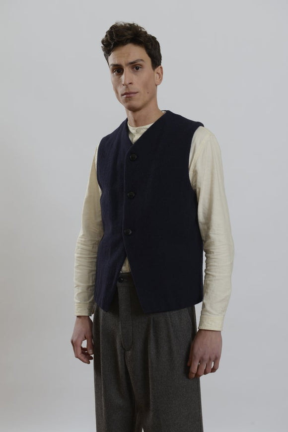 HACKNEY UNION WORKHOUSE - BAXTER GILET - NAVY WOOL