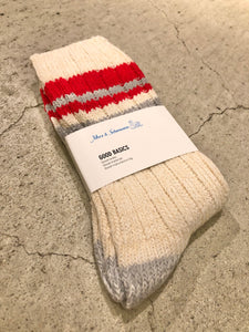 Merz b.Schwanen - GS02 GOOD BASICS SOCKS - NATURE/RED