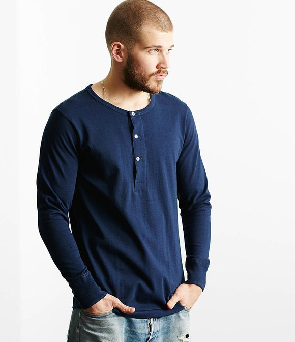 Merz b.Schwanen - 206 - LONG SLEEVE HENLEY NECK - INK BLUE