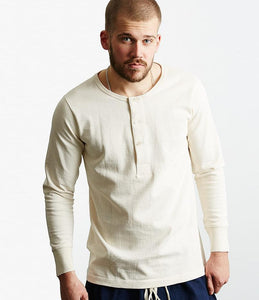 Merz b.Schwanen - 206 - LONG SLEEVE HENLEY NECK - NATURAL
