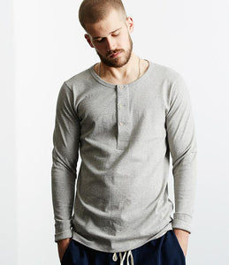 Merz b.Schwanen - 206 - LONG SLEEVE HENLEY NECK - GREY MEL