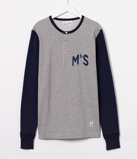 Merz b.Schwanen - TR206 - LONG SLEEVE HENLEY NECK - GREY MEL/INK BLUE