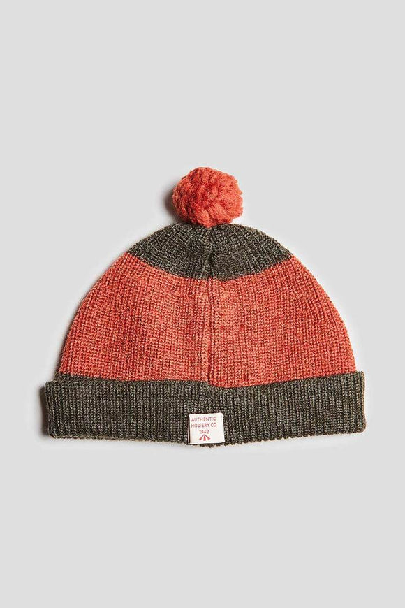Nigel Cabourn - AUTHENTIC STRIPED POM POM BEANIE - ORANGE&ARMY