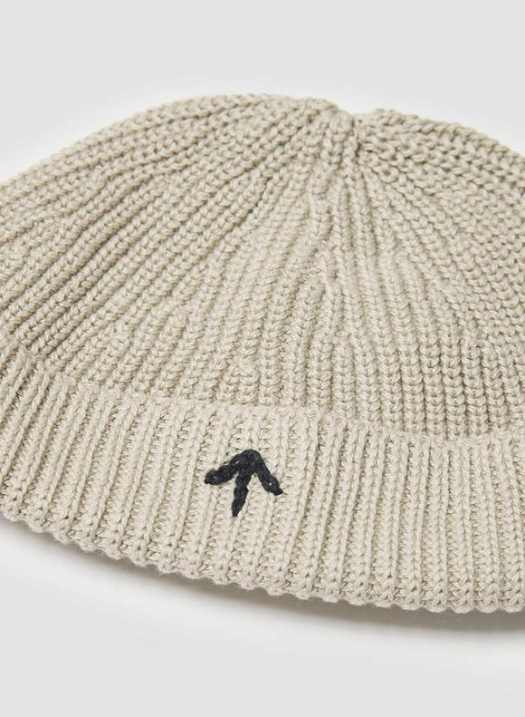 Nigel Cabourn - COTTON KNIT BEANIE IN STONE - AUTHENTIC