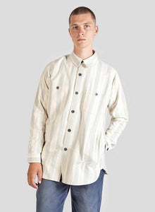 Nigel Cabourn - LYBRO ARCTIC SHIRT COTTON STRIPE - NATURAL/GREEN