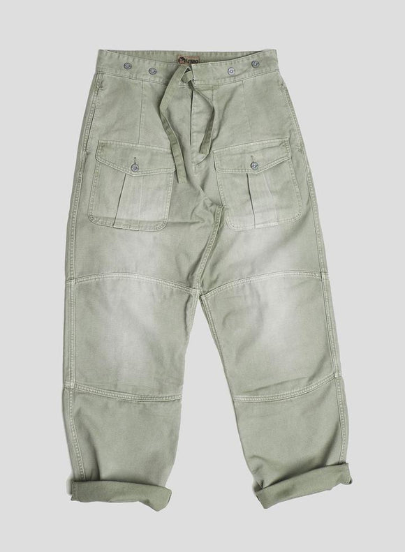 Nigel Cabourn LYBRO - RACE PANT IN WASHED ARMY - CANVAS+HERRINGBONE MIX