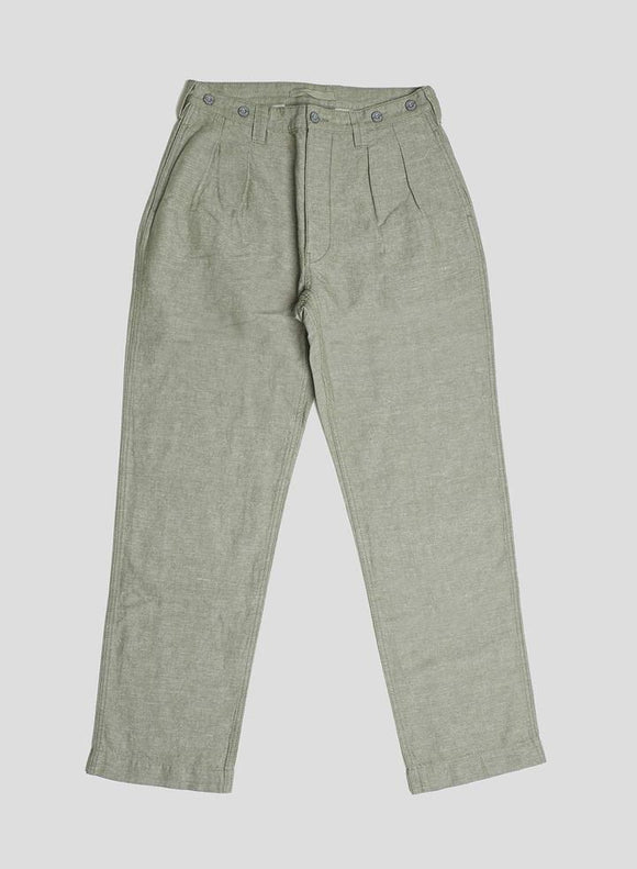 Nigel Cabourn LYBRO - PLEATED CHINO US GREEN - COTTON LINEN FABRIC