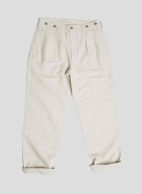 Nigel Cabourn LYBRO - PLEATED CHINO DIRTY NATURAL - COTTON LINEN FABRIC