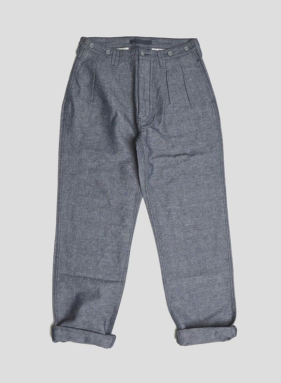 Nigel Cabourn LYBRO - PLEATED CHINO INDIGO - COTTON LINEN FABRIC