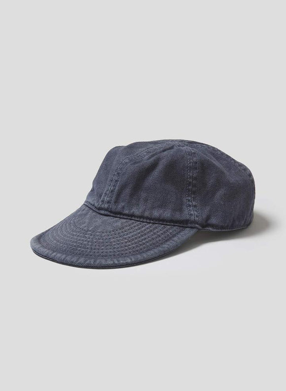 Nigel Cabourn LYBRO - MECHANICS CAP IN BLACK NAVY - CANVAS+HERRINGBONE MIX
