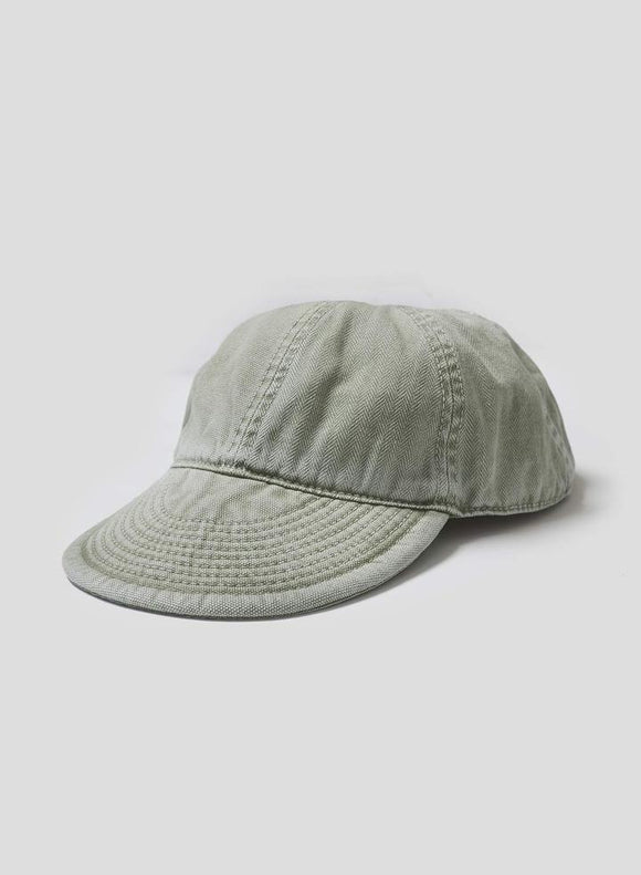 Nigel Cabourn LYBRO - MECHANICS CAP IN WASHED ARMY - CANVAS+HERRINGBONE MIX
