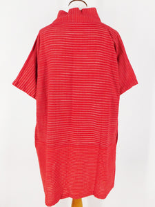 Cowl Neck Tunic - Lines Print - Red