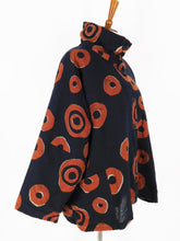 Fleece Lined Button Front Jacket - Falling Coins Print - Black