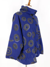 Fleece Lined Button Front Jacket - Falling Coins Print - Navy
