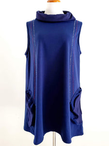 Cowl Neck Tunic - Circle Patch Print - Blue