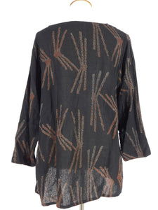 Patch Pullover Tunic - Pine Art Print - Black (A)