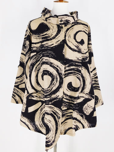Asymmetrical Jacket - Uzu Print/Sashiko - Black/Light Khaki