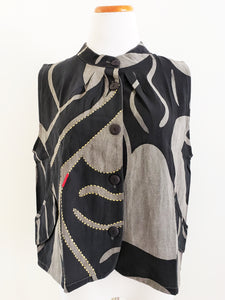 Short Vest - Line Wave Batik & Sashiko - Grey