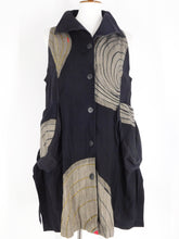 Scoop Pocket Long Vest - Water Ripple Print & Sashiko - Black