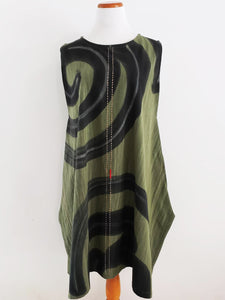 Triangle Tunic - Whirlpool Batik/Sashiko - Green