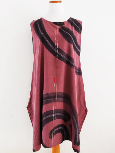 Triangle Tunic - Whirlpool Batik/Sashiko - Red