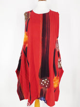 Triangle Tunic - Marble Print & Sashiko - Red