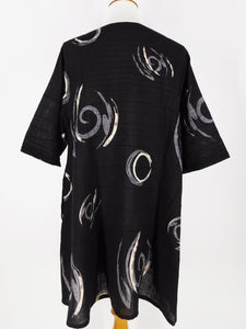 A-Line Pintuck Long Tunic - Brush Paint Print - Black
