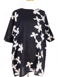 A-Line Tunic - Paper Flower Print - Black