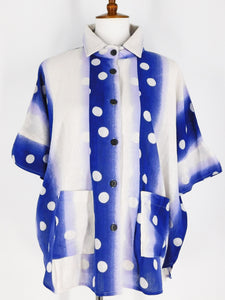 Collared Button Front Top - Gradation Dot Print - Blue