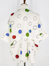 Collared Button Front Top - Colorful Bubble Print - Natural