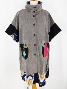 Button Front Combo Tunic - Kanzashi Print - Grey