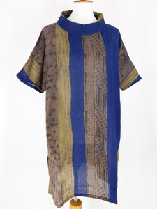 Panel Tunic - Textiles Print - Dark Blue