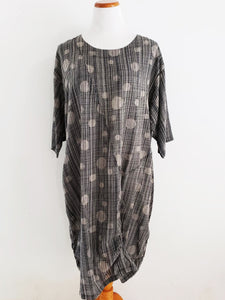 Drawstring Dress - Marble Mesh Print - Black