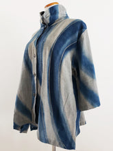 Cowl Neck Button Front Jacket - Curves Print - Blue