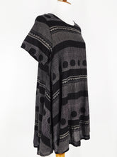 Flare Tunic - Dots & Dashes Print - Black
