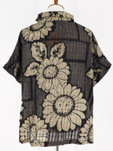 Cowl Neck Button Front Top - Check Flower Print - Black