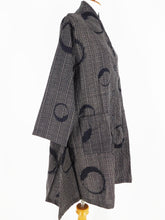 Roll Collar Coat - Brush Moon Print - Black