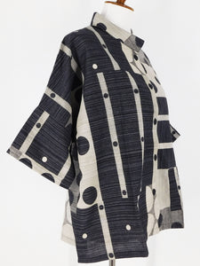 Wide Sleeve Jacket - Multi Dot Print - Black