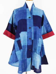Roll Collar Jacket - Checker Print - Blue