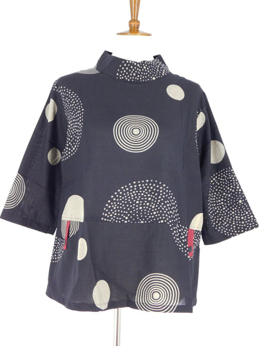 Cowl Neck Two Pocket Top - Random Circle Print - Black
