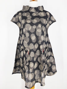 Cap Sleeve Dress - Poly - Double Dot Print - Black