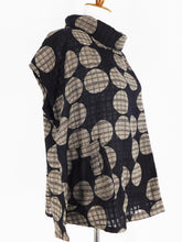 Cowl Neck Top - Circle Dot Check Print - Black