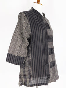 Asymmetrical Jacket - Stripe Mix Print - Black