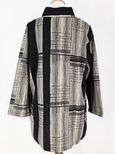 Mao Collar Jacket - Stripe Mix Print - Black