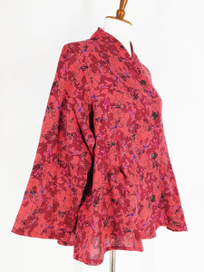 Roll Collar Short Jacket - Yarn Dye - Azalea Print - Red
