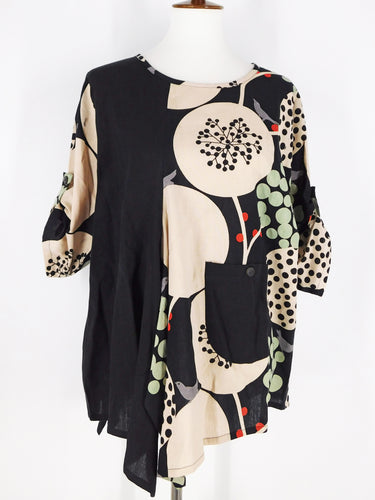 Funky Top - Birds Print - Black