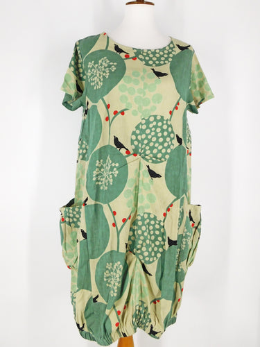 Balloon Dress - Birds Print - Green