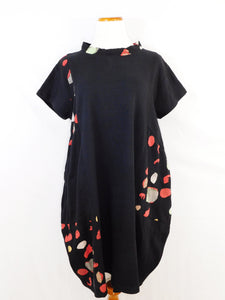 Fleece Patch Dress - Bubble Solid Print - Black